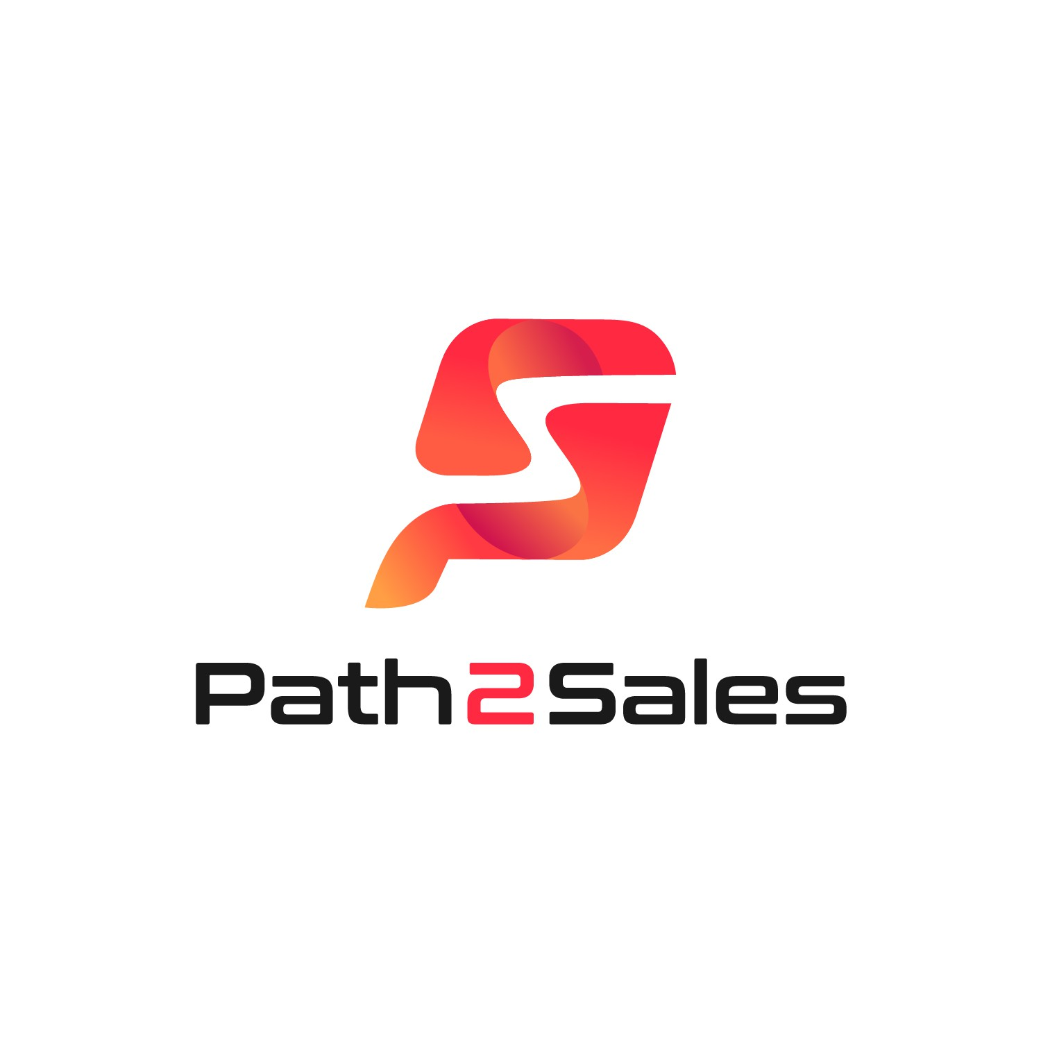 Create a logo showing an abstract progression through color, gradients and dimension for Path2Sales