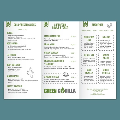 Menu design for Healthy Cafe Geneva