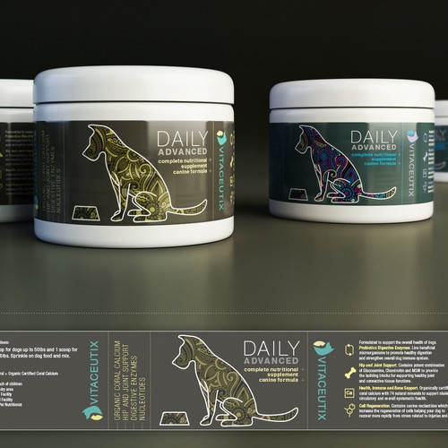 label design for pet supplements