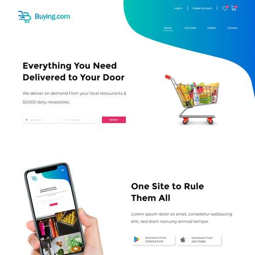 Website design for an a shopping app