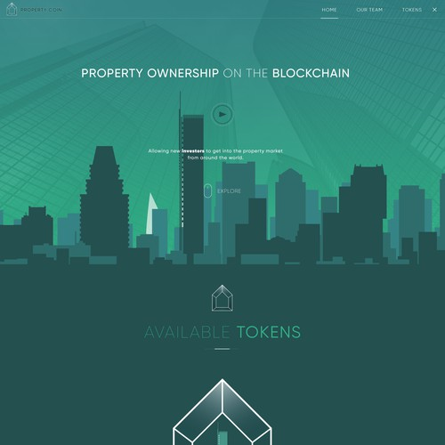 Homepage for Blockchain company