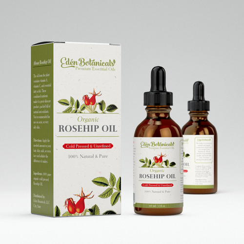 Label and box design for Organic Rosehip Oil