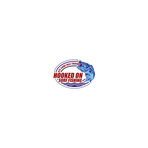 """Hooked On"" Surf Fishing Logo"