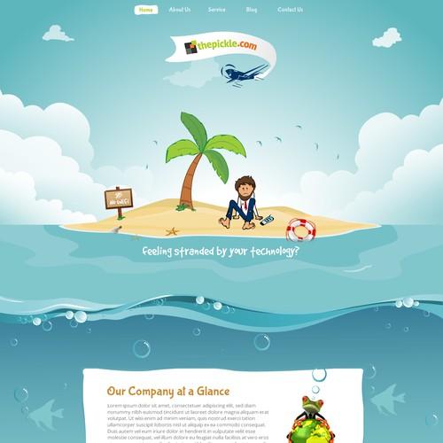 Deserted island scene for a fun technology company