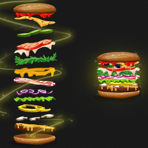 Create fun graphics of things that can go on a hamburger