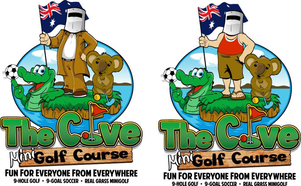 Australian Animal Cartoons playing golf and Ned Kelly Mascot holding Australian Flag Logo WANTED for Golf Course