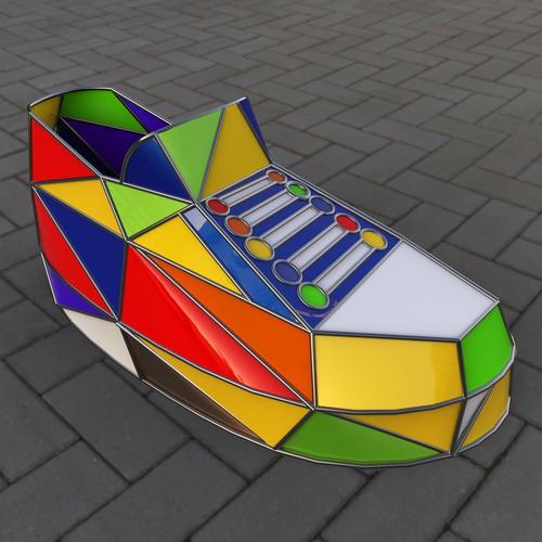 Running shoe statue/donation box