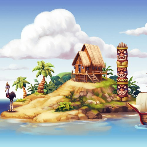 Tropical Island Illustration