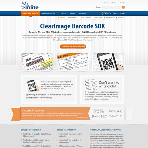 Inlite home page design