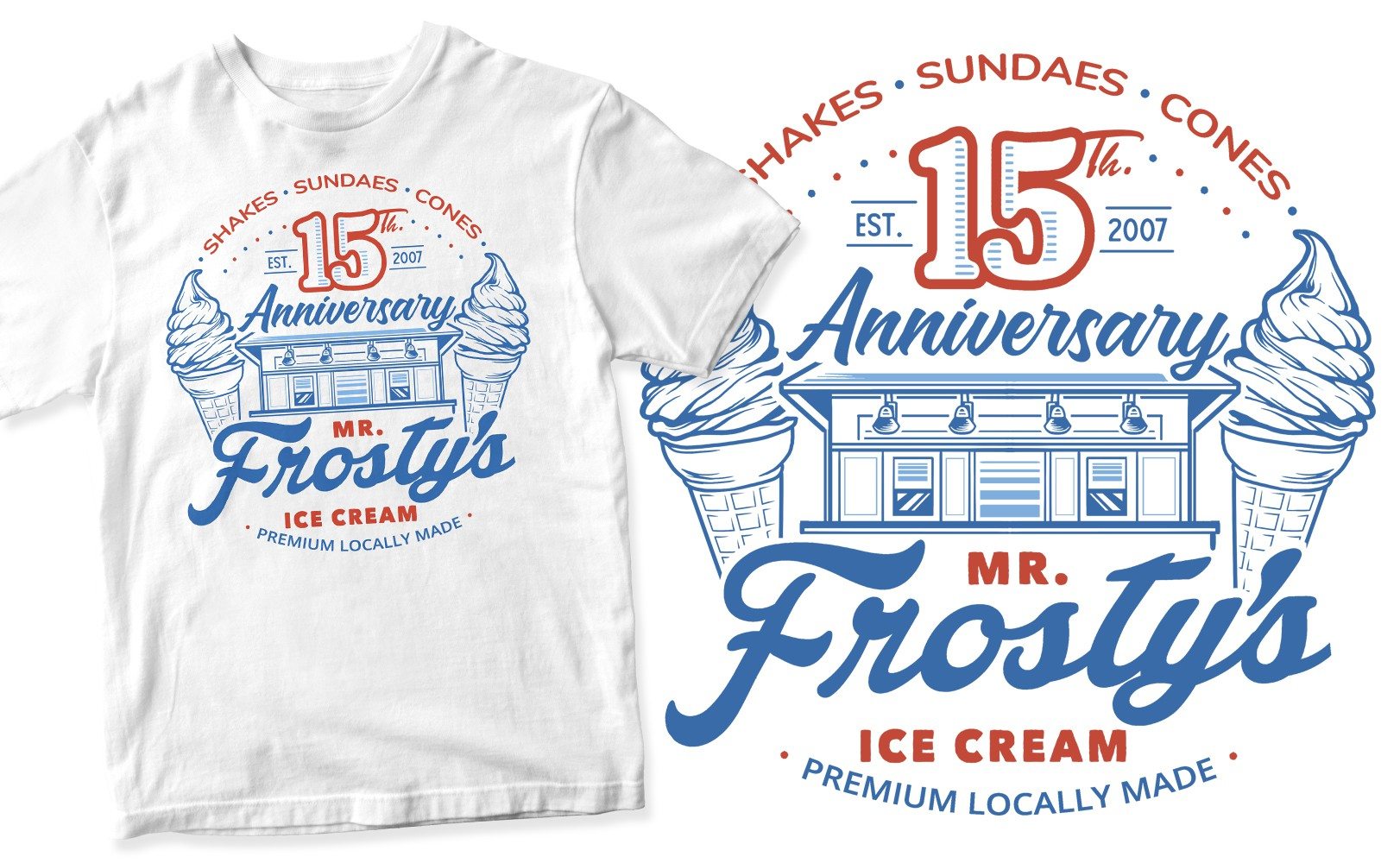 Fun 15 Year Anniversary Ice Cream Shop Shirt