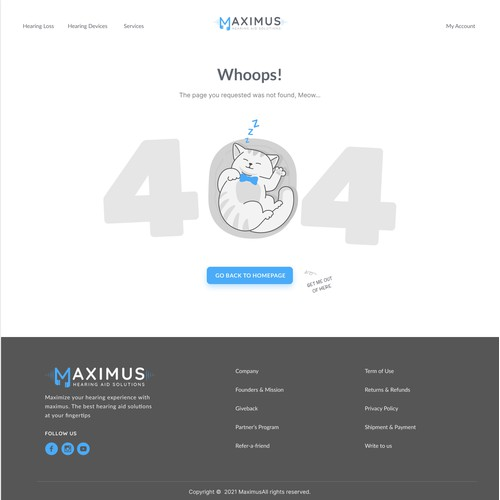 404 Error Page - Powerful webdesign for revolutionary hearing device platform