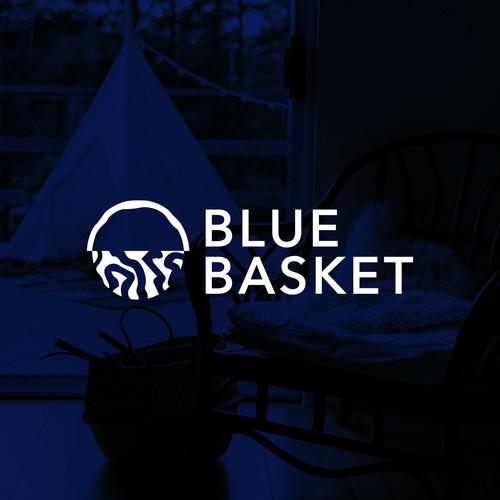 Minimal and clean logo design for Blue Basket