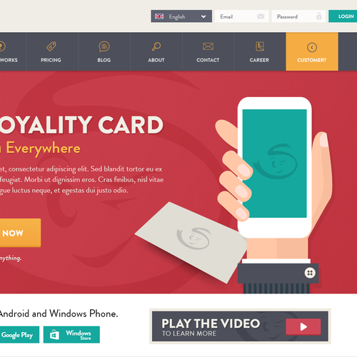 Homepage design for Stampuno