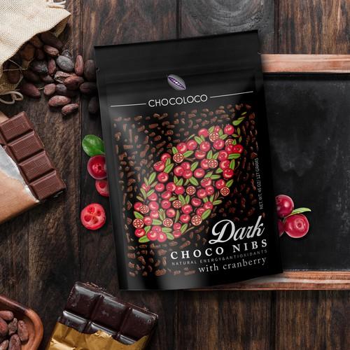 Dark Chocolate Nibs Label Design