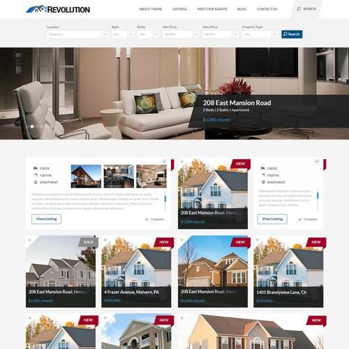 Makeover real estate Wordpress theme. Make it look modern and stylish.