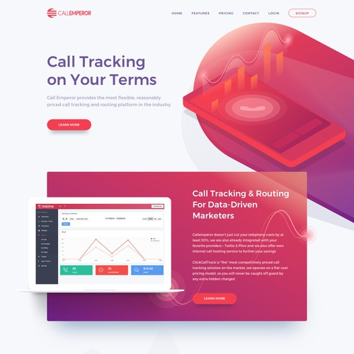 Landing page design for Call Emperor