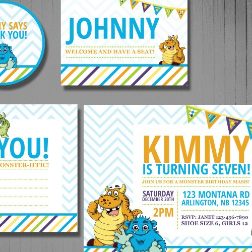 Createa fun & excitingChildren's Party Invitation Set using Red Jelly Bean's own characters! :)