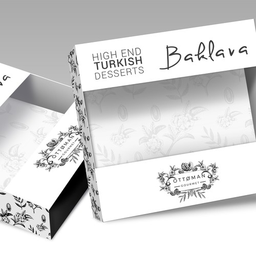 Unique, classy, contemporary sophistication and simple set of baklava packaging boxes and bags