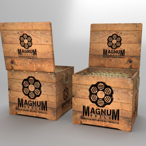 Vintage wooden crate box for Magnum Reels