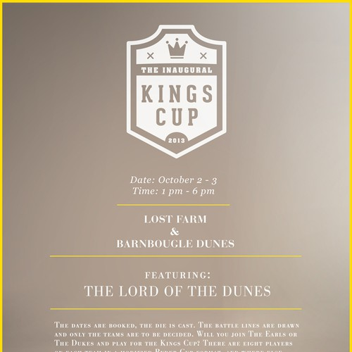 Create the next design for THE KINGS CUP