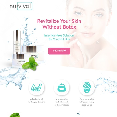 Landing page for cosmetics company