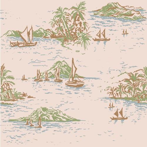 Hawaiian shirt print (Hand-drawn illustration)