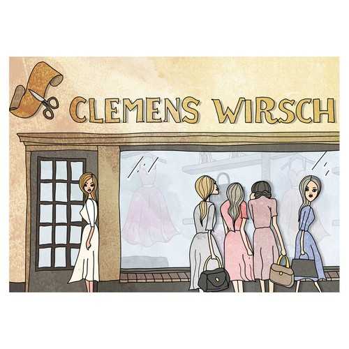 Luxury fashion store illustration