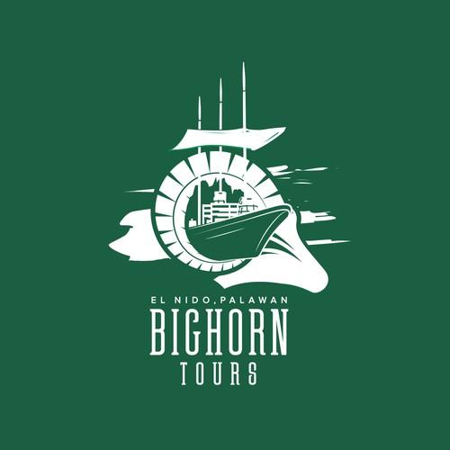 I designed this Big horn logo for a El Nido boat tour company.