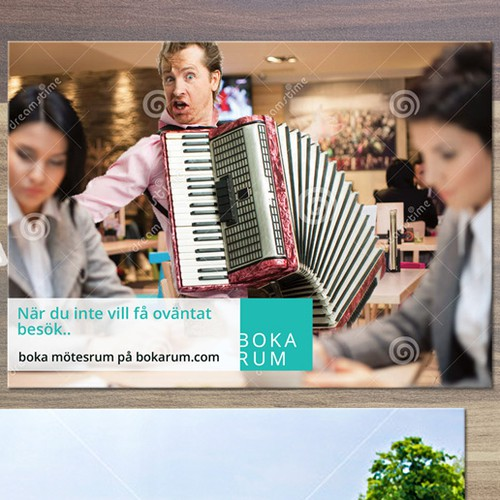 Accordion player Photoshopped in to cafe scene
