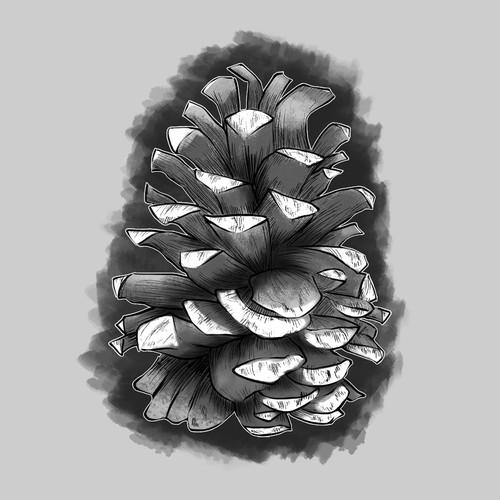 Pine Cone Tattoo Design