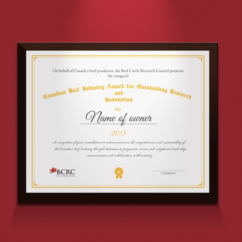 National Award Certificate