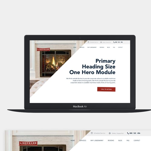 Homepage design for regional chimney and fireplace company