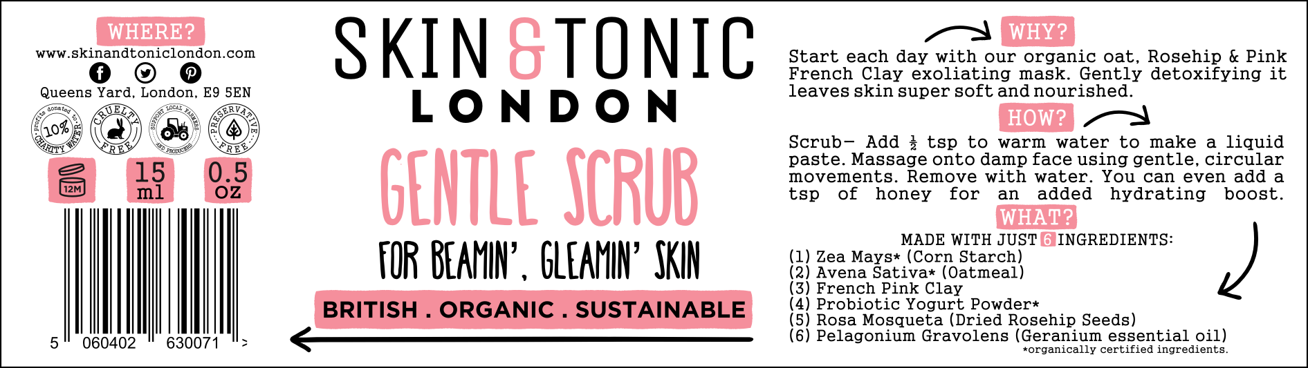 Label design for Skin & Tonic Face Products