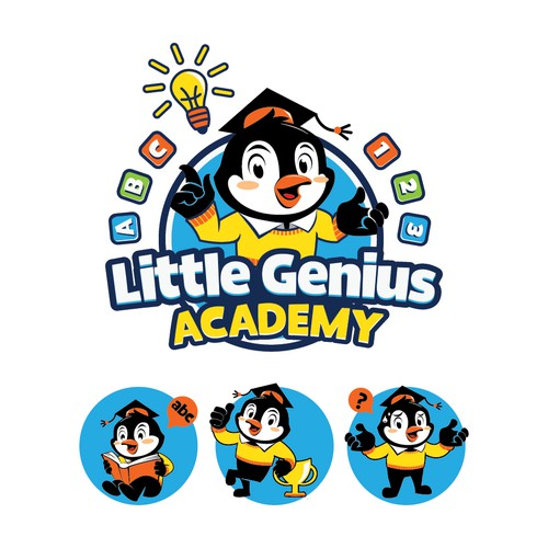 fun mascot concept for little genius academy