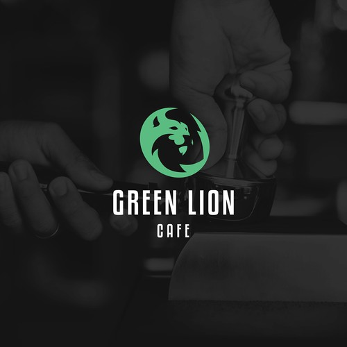 Green lion cafe logo concept