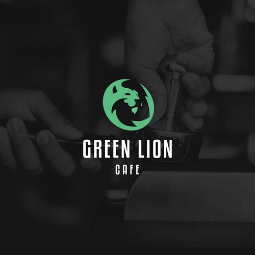 Green lion cafe logo concept