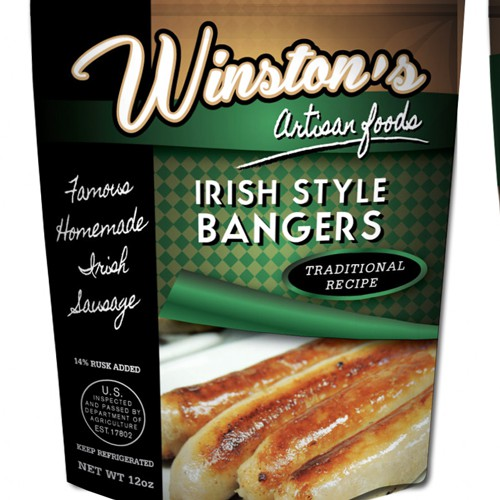 Create the next product packaging for Winston Sausage
