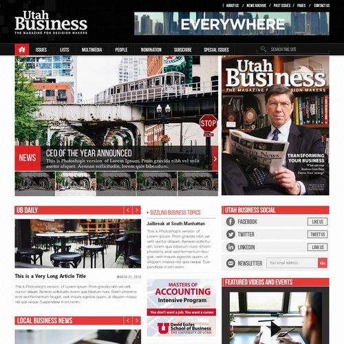 Create the new design for an existing business magazine website.