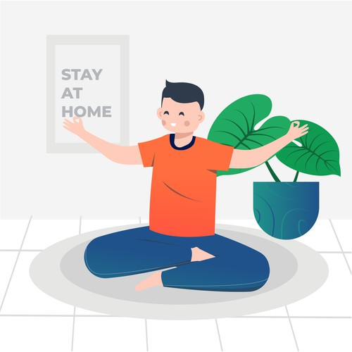 Flat illustration of meditation at home. stay at home