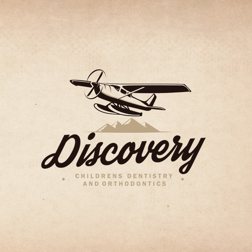 "Vintage seaplane illustration logo for ""Discovery Childrens Dentristry And Orthodontics"""