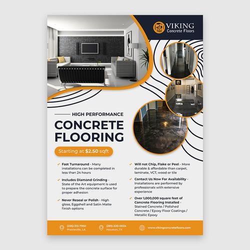 Minimalist clean flyer for Viking concrete floors