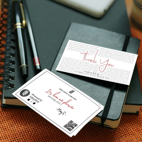 Classy and Eye-Catching Card Design to Say Thank You and to Provide a Cash Less Way to Leave a Tip for Gratus Company