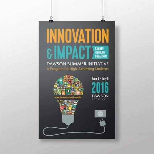 Design signage for summer program exploring INNOVATION & IMPACT