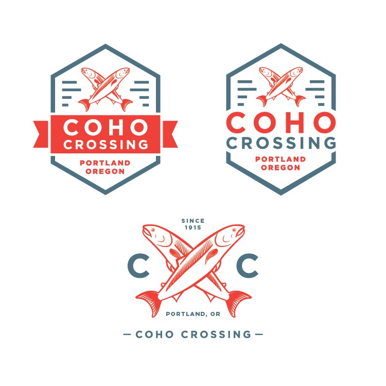 Design a splashy Salmon inspired logo for Coho Crossing