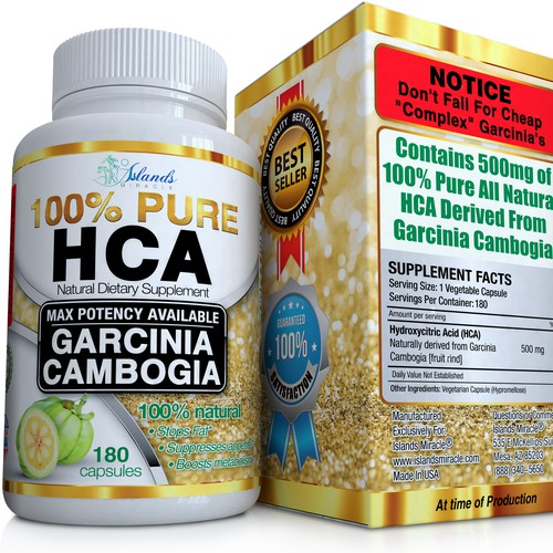 100% PURE Garcinia Cambogia label and box design