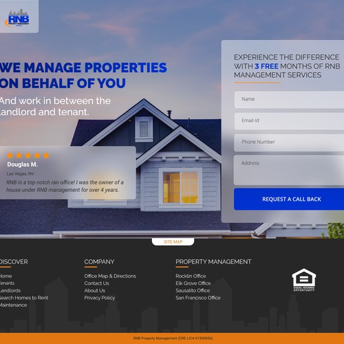 Landing page for property management