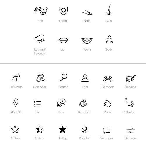 iOS icons for beauty app