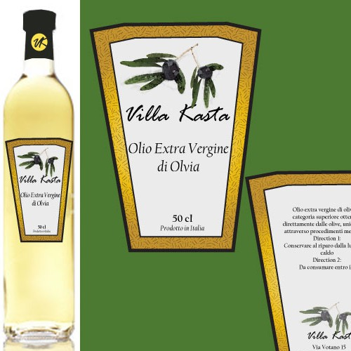 Classy Label for High Quality Olive Oil 'Villa Kasta'
