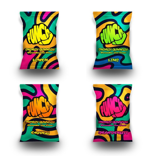 Punchd Energy Gummies Package Design