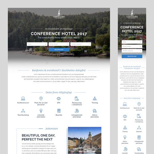 Conference hotel needs a high converting lead-capture page.